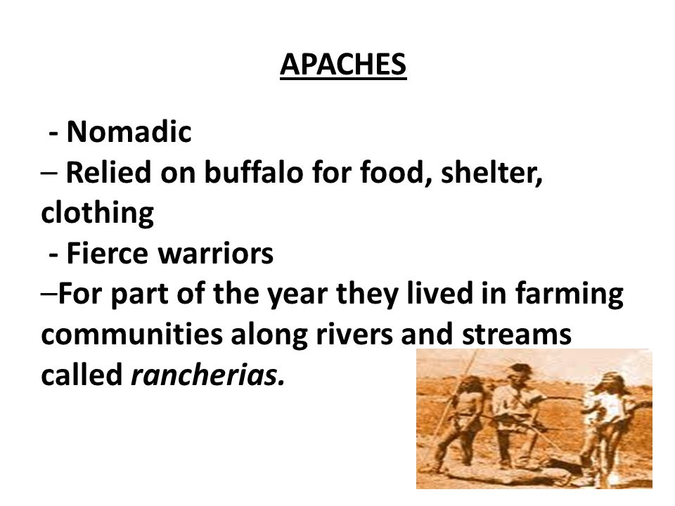 APACHES - Nomadic. – Relied on buffalo for food, shelter, clothing. - Fierce warriors.