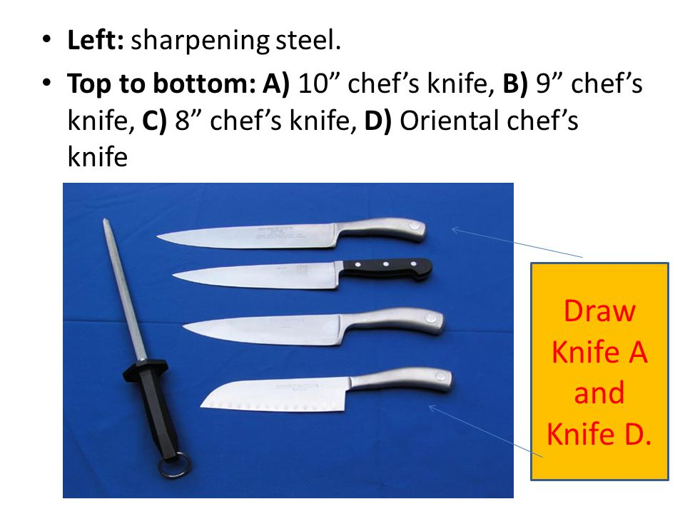 Draw Knife A and Knife D. Left: sharpening steel.