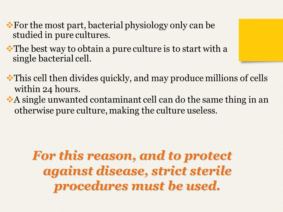 For the most part, bacterial physiology only can be studied in pure cultures.