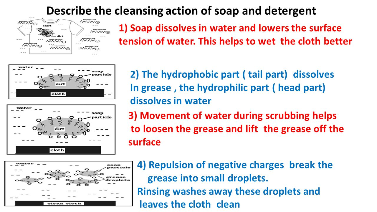 Describe the cleansing action of soap and detergent