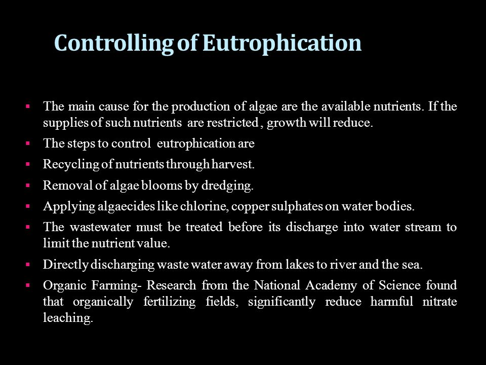 Controlling of Eutrophication
