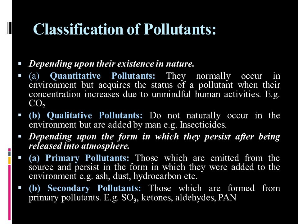 Classification of Pollutants: