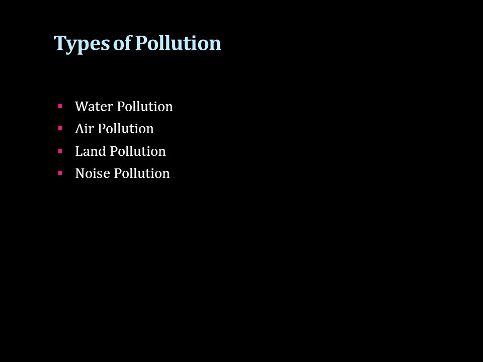 Types of Pollution Water Pollution Air Pollution Land Pollution