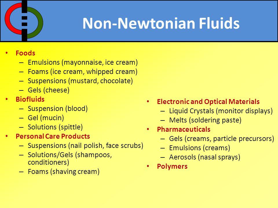 Non-Newtonian Fluids Foods Emulsions (mayonnaise, ice cream)