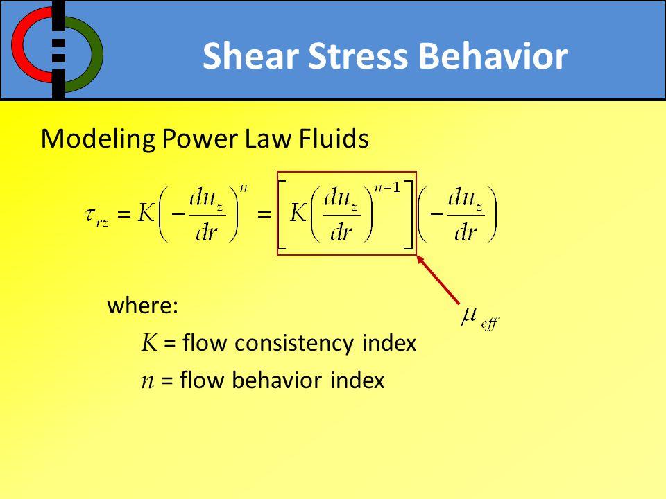 Shear Stress Behavior Modeling Power Law Fluids where: