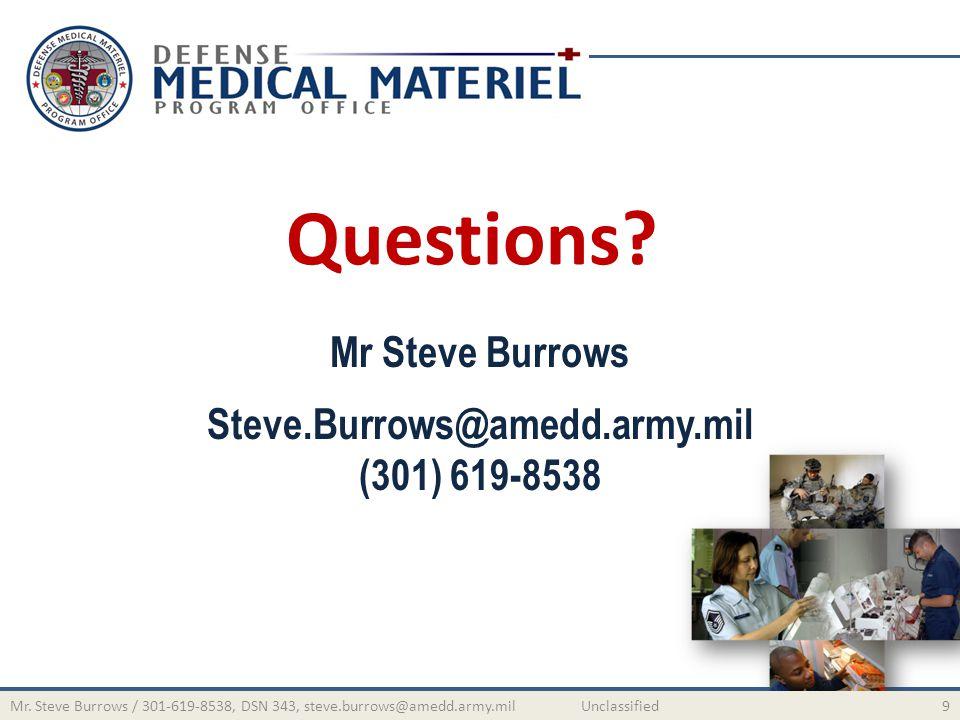 Mr Steve Burrows Steve.Burrows@amedd.army.mil (301) 619-8538