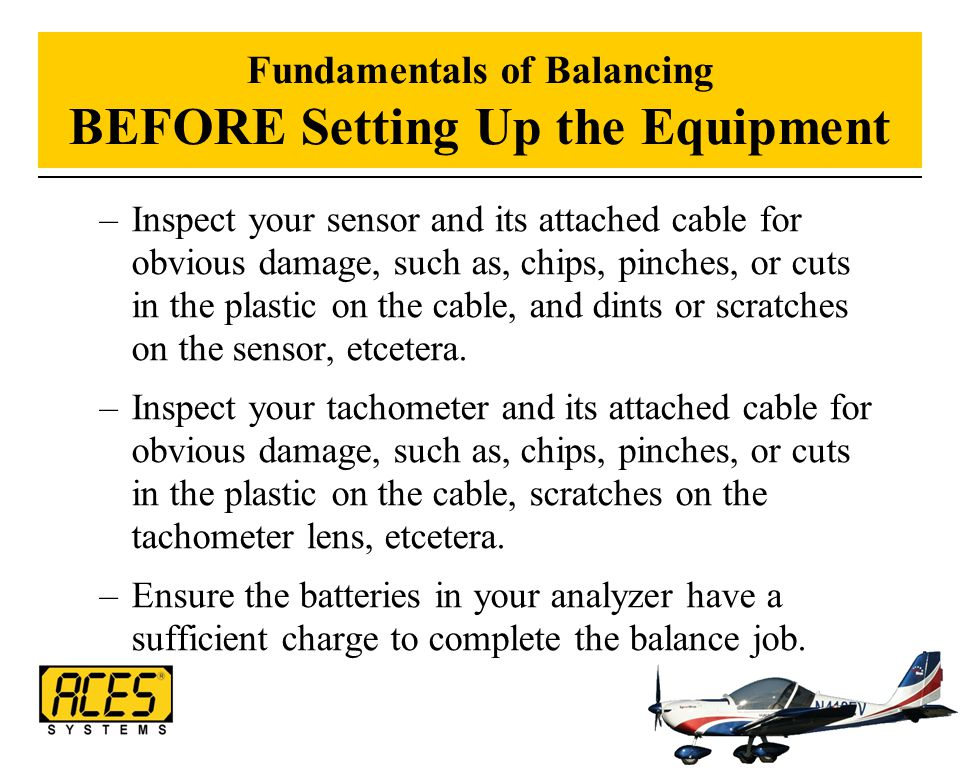 Fundamentals of Balancing BEFORE Setting Up the Equipment