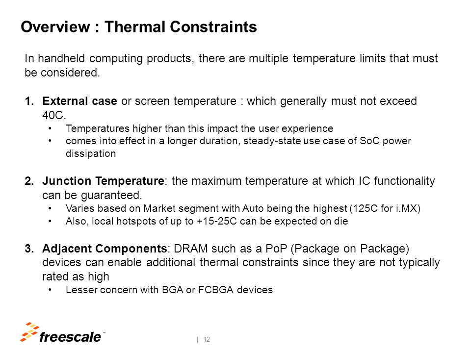 Overview : Thermal Dissipation Activity Profile