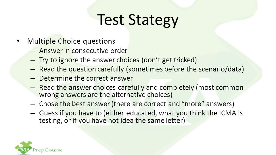Test Stategy Multiple Choice questions Answer in consecutive order