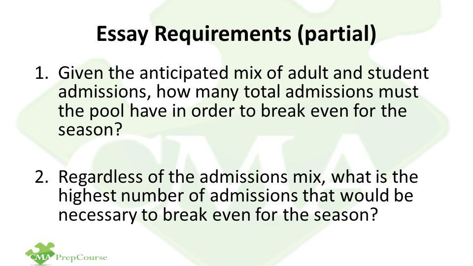 Essay Requirements (partial)