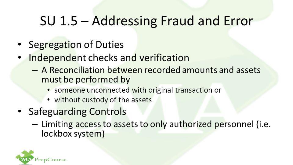 SU 1.5 – Addressing Fraud and Error