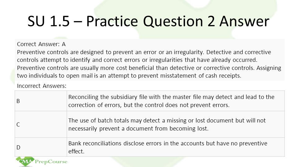 SU 1.5 – Practice Question 2 Answer