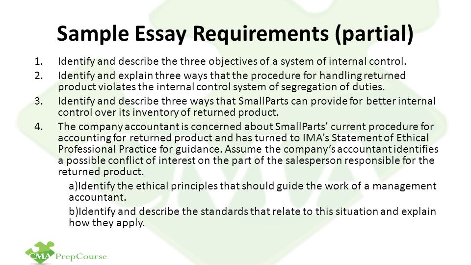 Sample Essay Requirements (partial)