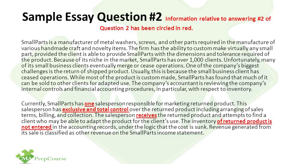 Sample Essay Question #2 Information relative to answering #2 of Question 2 has been circled in red.