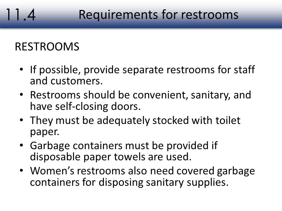 Requirements for restrooms