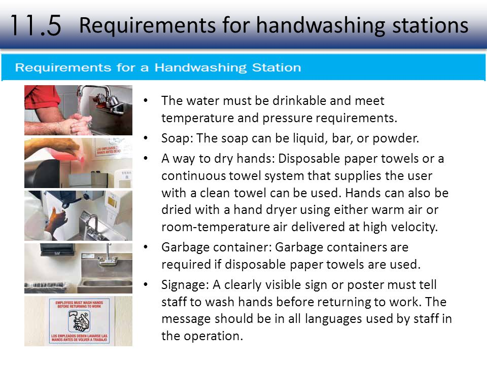 Requirements for handwashing stations
