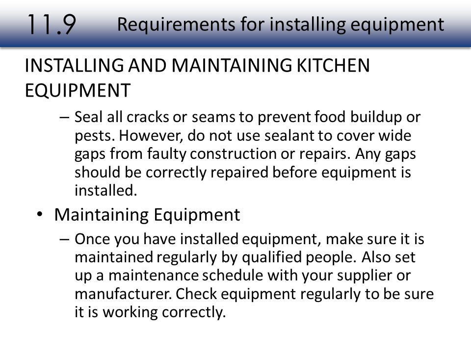 Requirements for installing equipment