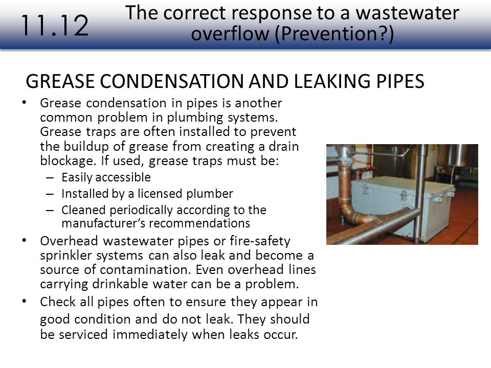 The correct response to a wastewater overflow (Prevention )