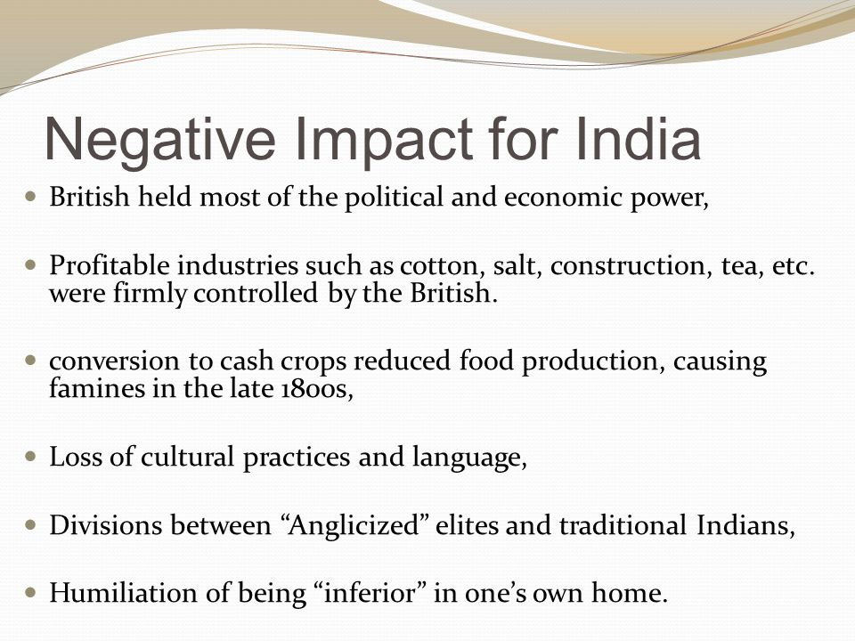 Negative Impact for India