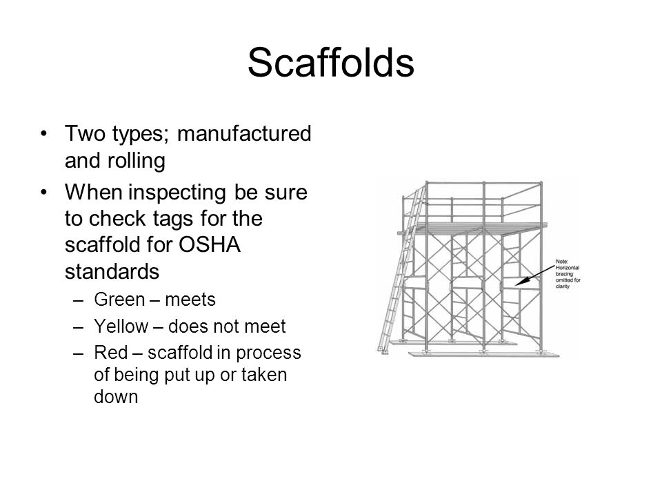 Scaffolds Two types; manufactured and rolling