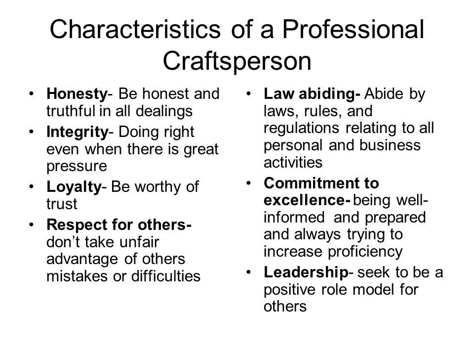 Characteristics of a Professional Craftsperson