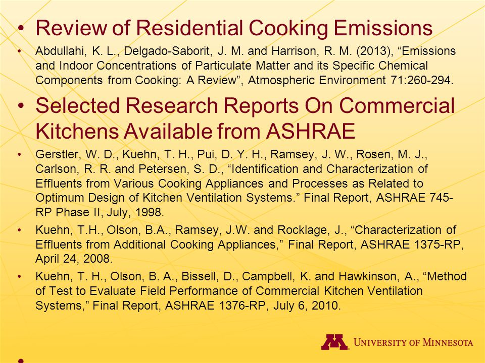 Review of Residential Cooking Emissions