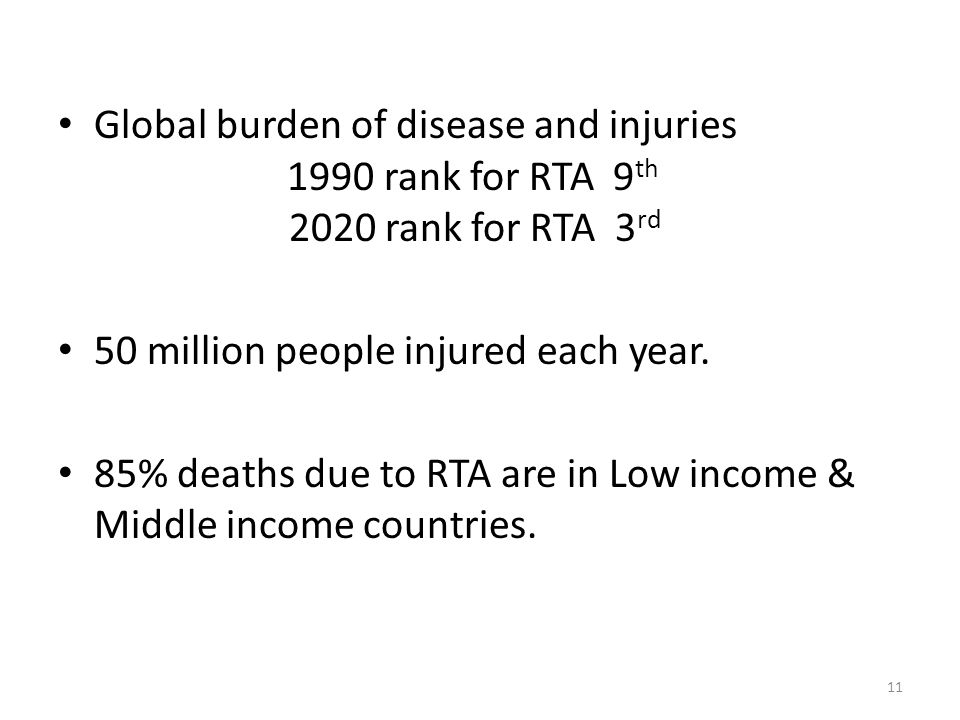 Global burden of disease and injuries 1990 rank for RTA 9th 2020 rank for RTA 3rd