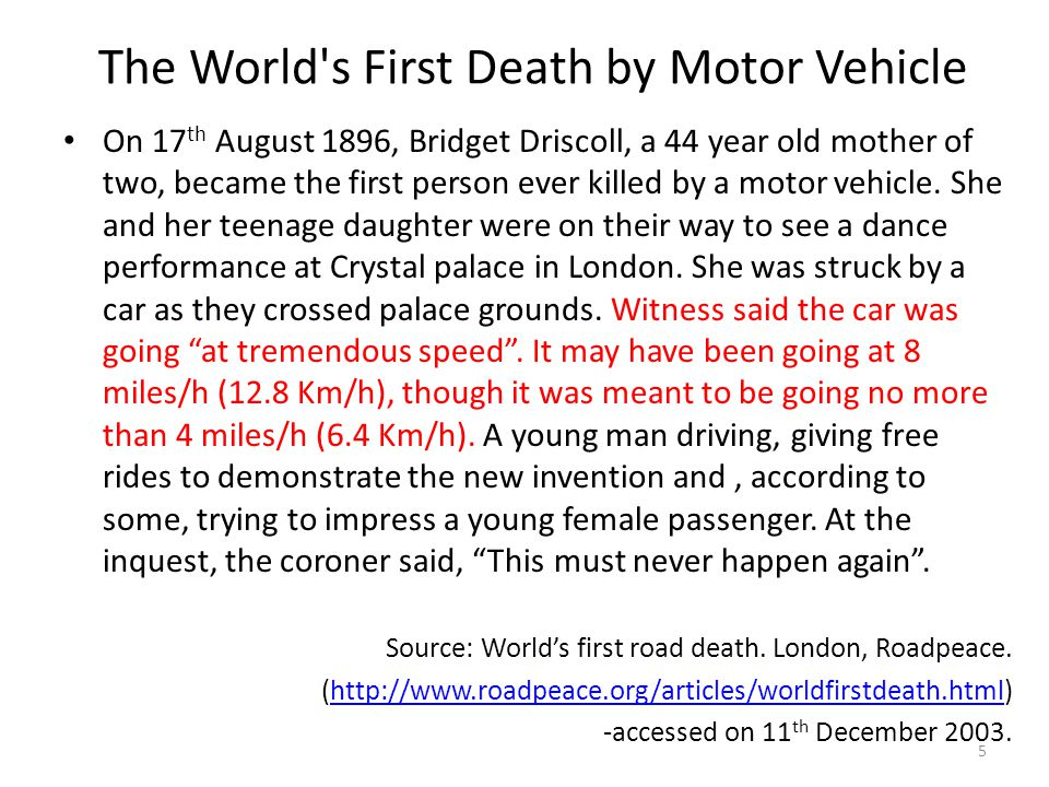 The World s First Death by Motor Vehicle