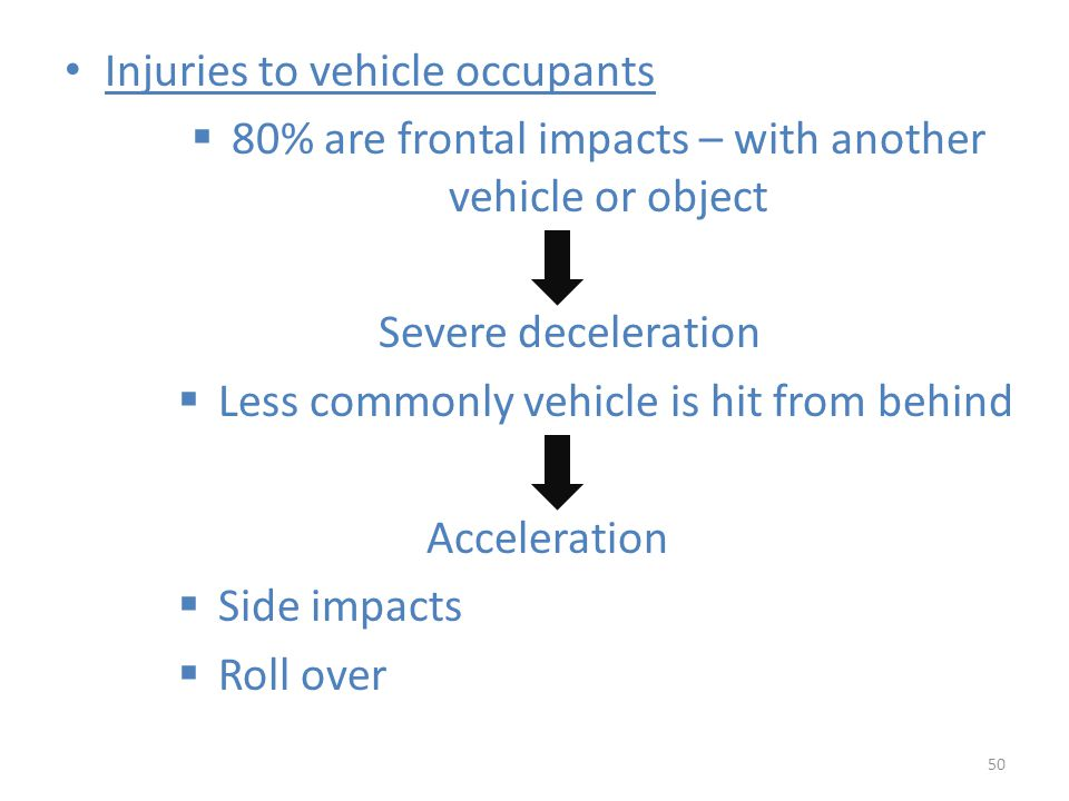 80% are frontal impacts – with another vehicle or object