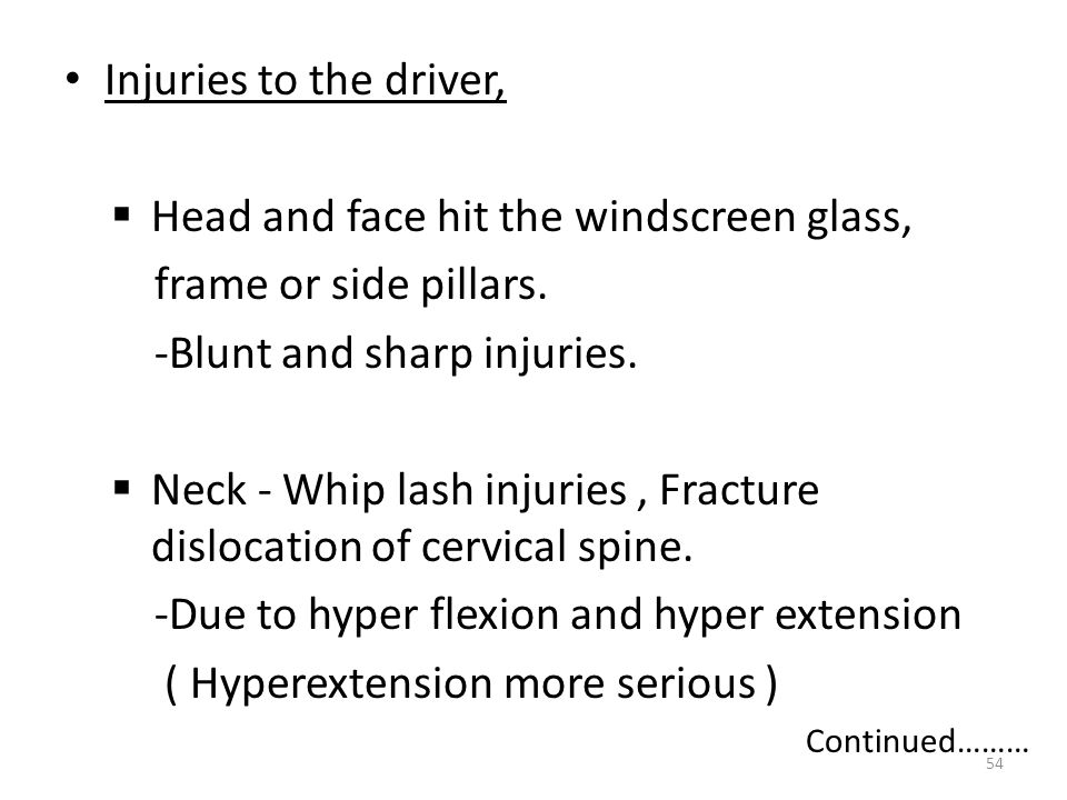 Head and face hit the windscreen glass, frame or side pillars.