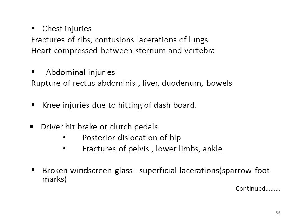 Fractures of ribs, contusions lacerations of lungs