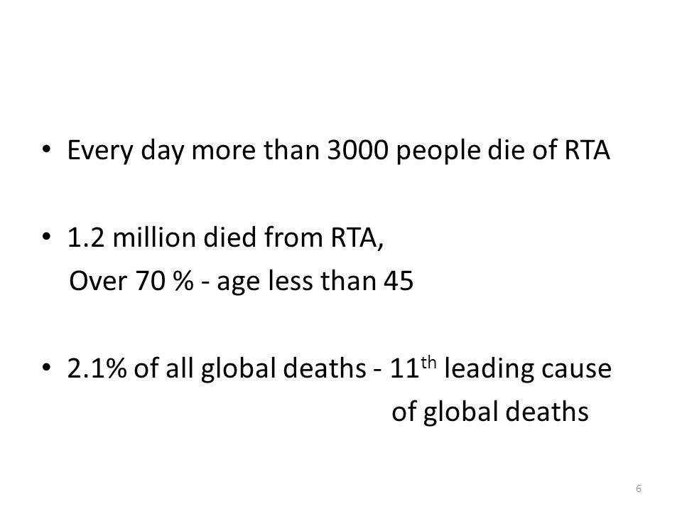 Every day more than 3000 people die of RTA