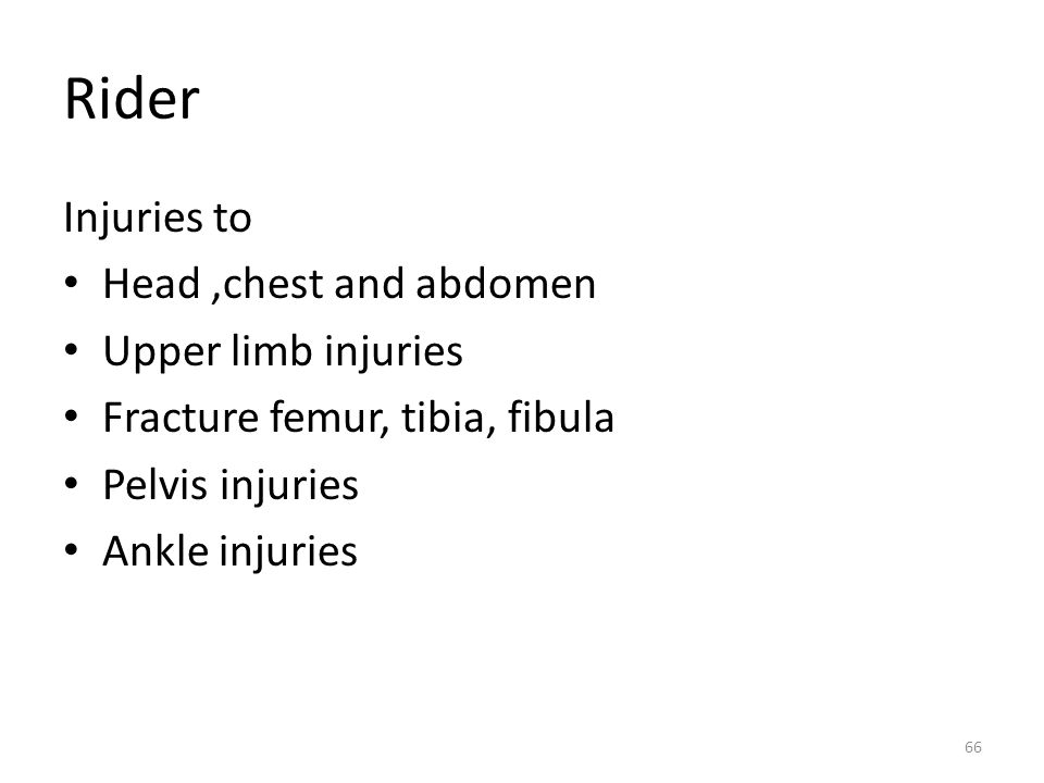 Rider Injuries to Head ,chest and abdomen Upper limb injuries