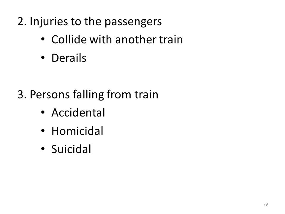 2. Injuries to the passengers