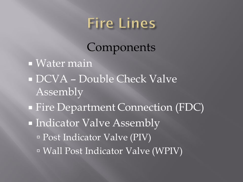 Fire Lines Components Water main DCVA – Double Check Valve Assembly