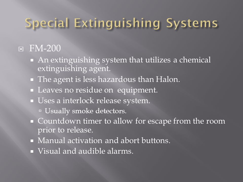 Special Extinguishing Systems