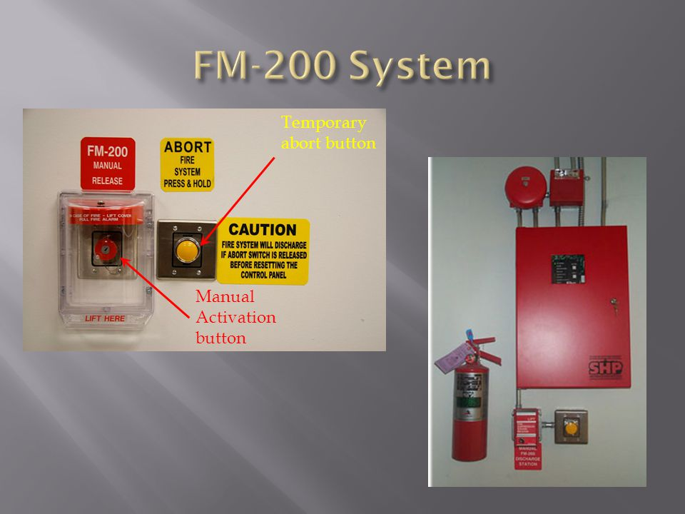 FM-200 System Temporary abort button Manual Activation button