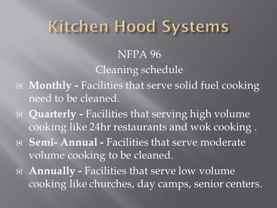 Kitchen Hood Systems NFPA 96 Cleaning schedule