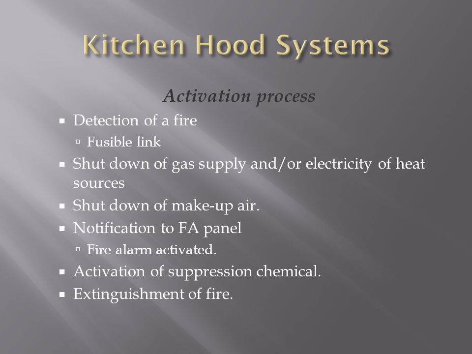 Kitchen Hood Systems Activation process Detection of a fire