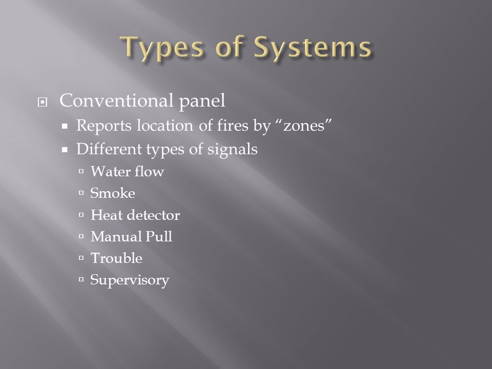 Types of Systems Conventional panel