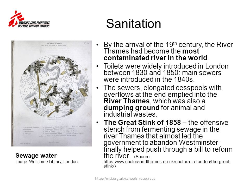 Sanitation By the arrival of the 19th century, the River Thames had become the most contaminated river in the world.