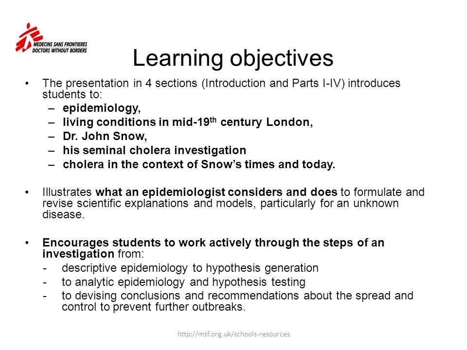 Learning objectives The presentation in 4 sections (Introduction and Parts I-IV) introduces students to: