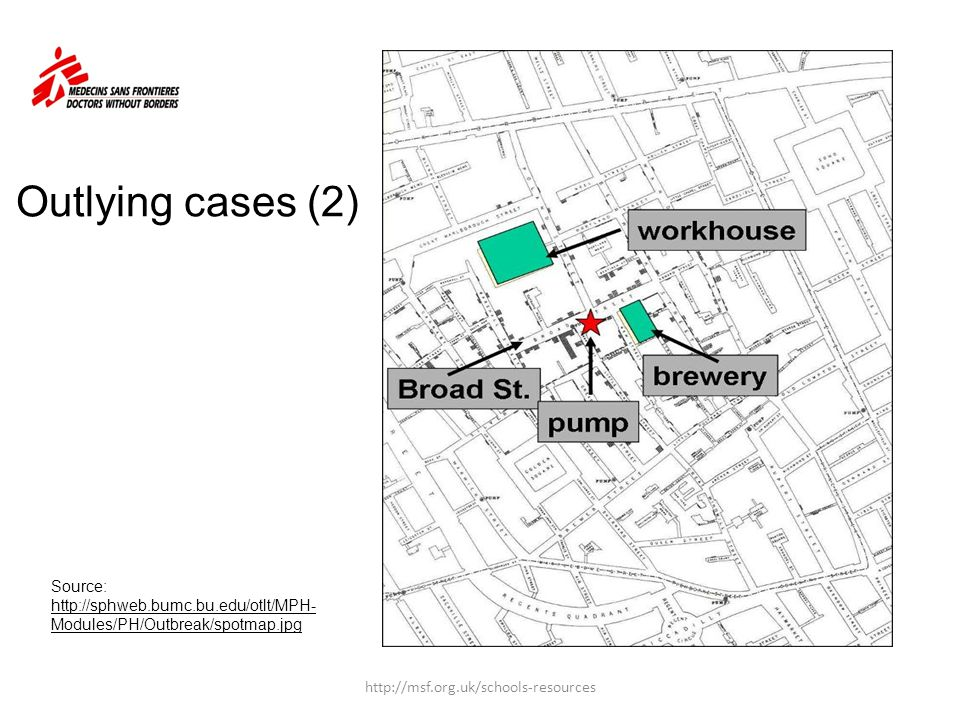 Outlying cases (2) Source: http://sphweb.bumc.bu.edu/otlt/MPH-Modules/PH/Outbreak/spotmap.jpg.