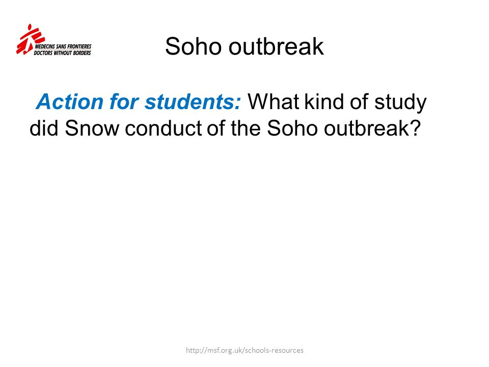 Soho outbreak Action for students: What kind of study did Snow conduct of the Soho outbreak.