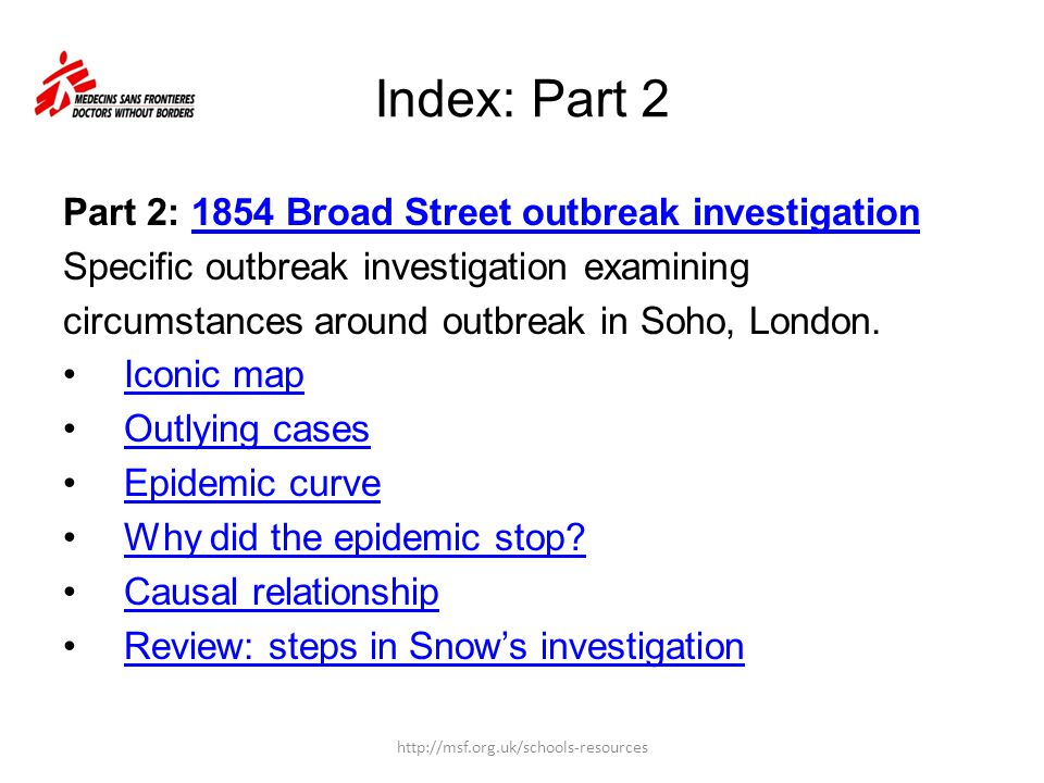 Index: Part 2 Part 2: 1854 Broad Street outbreak investigation