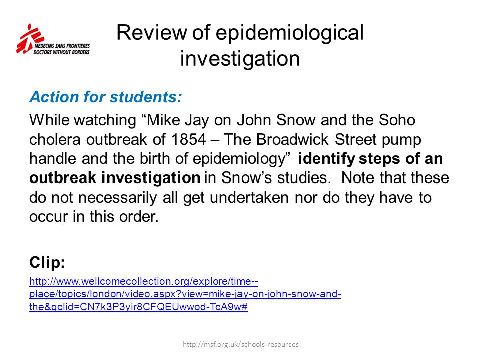 Review of epidemiological investigation