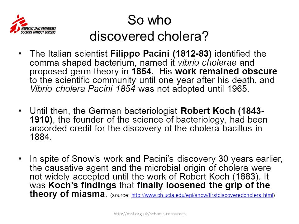So who discovered cholera