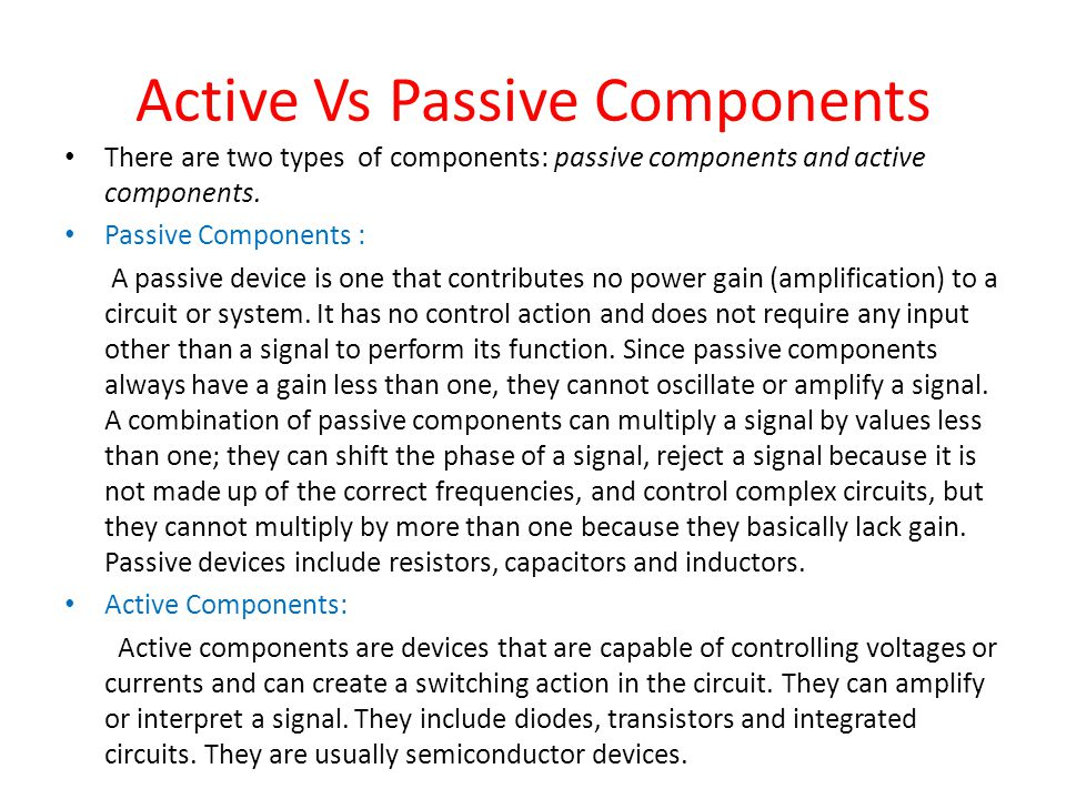 Active Vs Passive Components
