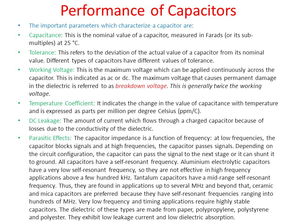 Performance of Capacitors