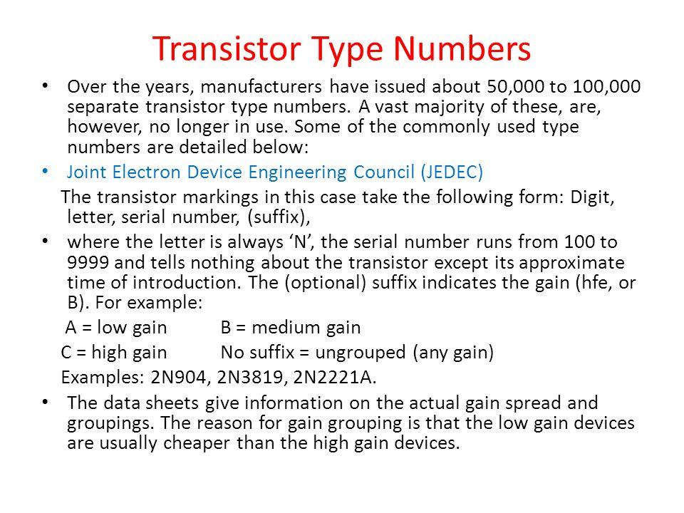 Transistor Type Numbers